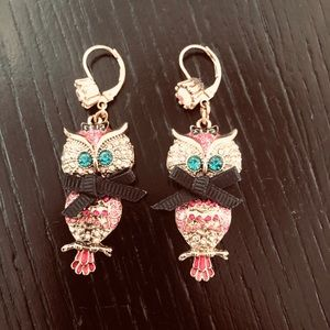 Betsey Johnson multi-colored owl drop earrings.